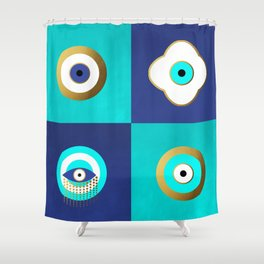 Turquoise and Blue evil eyes Shower Curtain