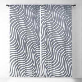 Whisker Pattern - Navy #583 Sheer Curtain