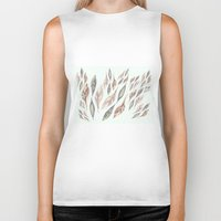 feathers Biker Tanks featuring Feathers by Vasare Nar