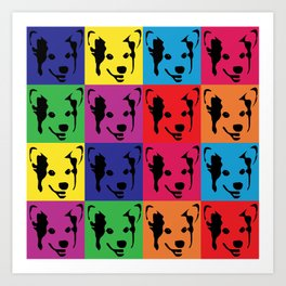 Corgi Pop art - dog pop art, corgi, cute, bright colorful, warholesque Art Print