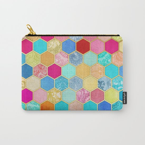 Patterned Honeycomb Patchwork in Jewel Colors Carry-All Pouch