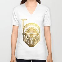gold foil V-neck T-shirts featuring Mandala BobaFett - Gold Foil by Spectronium - Art by Pat McWain