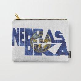 Nebraska Typographic Flag Map Art Carry-All Pouch