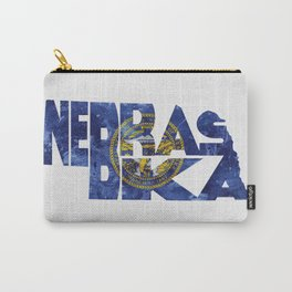 Nebraska Typographic Flag Map Art Carry-All Pouch