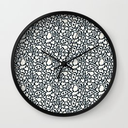 Seamless pattern with organic hand drawn rounded and stripe shapes Wall Clock