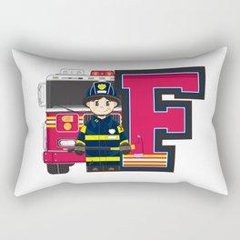 F is for Fireman Illustration Rectangular Pillow