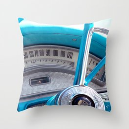The blue steering wheel Throw Pillow