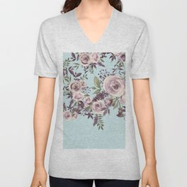 Watercolor forest green gray aquamarine floral Unisex V-Neck