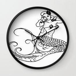 Pinup Mermaid - Miss Bettyanne Wall Clock