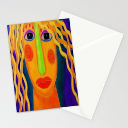 Blonde Abstract Digital Portrait of a Woman Stationery Cards