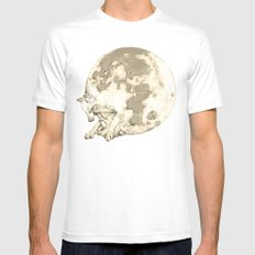In which a wolfy moon thing happens White MEDIUM Mens Fitted Tee