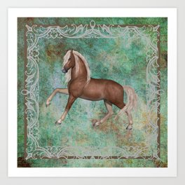 Horse On Green Brown Background With Border Art Print