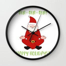 Happy Holidays Santa Claus Yoga For Christmas Wall Clock