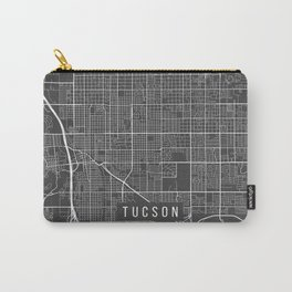 Tucson Map, Arizona USA - Charcoal Portrait Carry-All Pouch