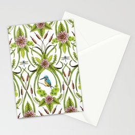Common Kingfisher, Water Lilies, Dragonflies & Cattails Pattern Stationery Cards
