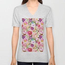 Pink violet lilac watercolor botanical floral Unisex V-Neck