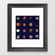 Mario Pattern Framed Art Print