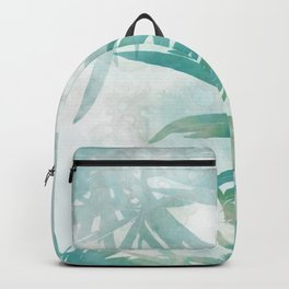 Aqua Blue Watercolor Palm Leaves Painting Backpack