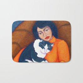 Cat Morgana with Woman Bath Mat