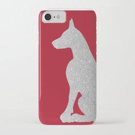 Doberman Dog in silver glitter iPhone Case