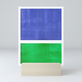 Mid Century Modern Minimalist Colorful Pop Art Rothko Inspired Color Field Blue Emerald Green Mini Art Print