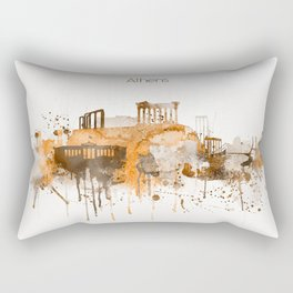 Athens Warm Color Skyline Rectangular Pillow