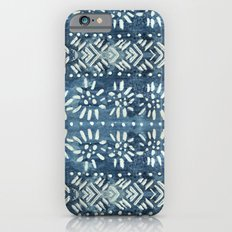 Vintage indigo inspired  flowers and lines Slim Case iPhone 6s