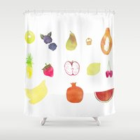 fruits Shower Curtains featuring fruits by Ewa Pacia