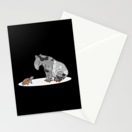 Tapir meets Turtle, Cute Animal Illustration, Black & White with Copper Metallic Accent Funny Turtle Stationery Cards