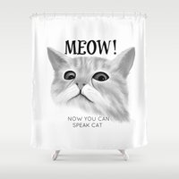 meow Shower Curtains featuring Meow by Veronica Ventress