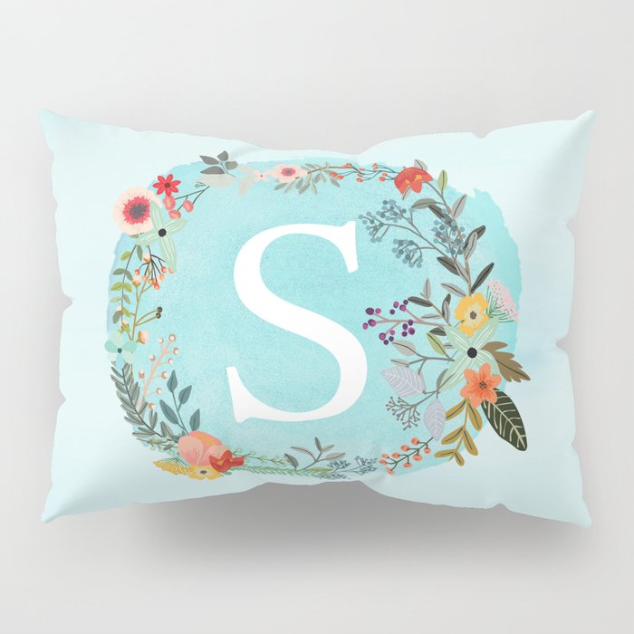Personalized Monogram Initial Letter S Blue Watercolor Flower Wreath Artwork Pillow Sham