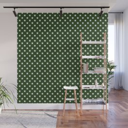 White Five Pointed Stars on Dark Forest Green Wall Mural