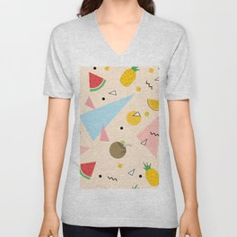 Retro Fruit & Shapes Bonanza Burst Unisex V-Neck