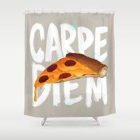 carpe Shower Curtains featuring Carpe Diem by Vaughn Pinpin