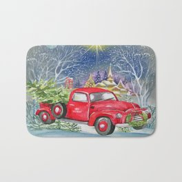 Red Truck With Christmas Tree Bath Mat