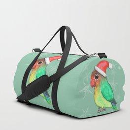 Cute Christmas lovebird Duffle Bag