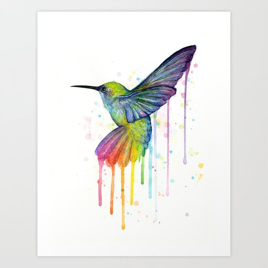 Hummingbird Rainbow Watercolor Art Print