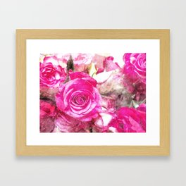 Bunch of Pink roses (watercolour) Framed Art Print