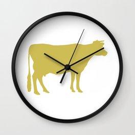 Cow: Mustard Yellow Wall Clock