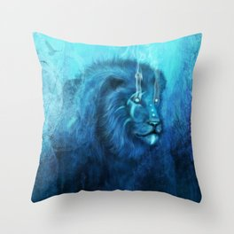 Blue Spirit Lion Throw Pillow
