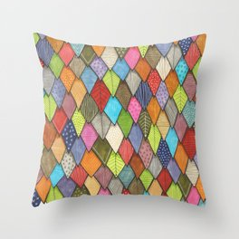 bright patterened scaley tiles Throw Pillow