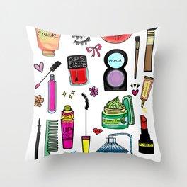 Cosmetic Doodles Throw Pillow