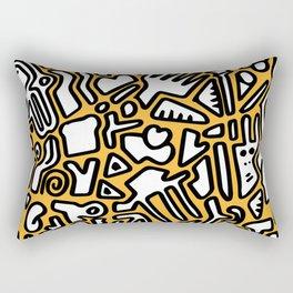 black doodle on orange Rectangular Pillow