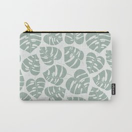 Grey Monstera Carry-All Pouch