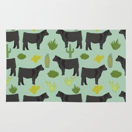 Cattle breed cactus farm gifts homestead art cow illustration Rug