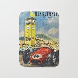 1957 Grand Prix Motor Racing Nurburgring Germany Vintage Advertising Poster Bath Mat