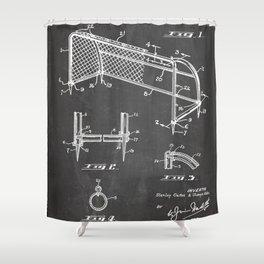 Soccer Patent - Soccer Goal Art - Black Chalkboard Shower Curtain