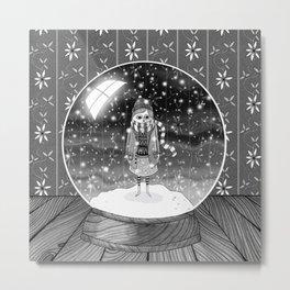 The Girl in the Snow Globe Metal Print