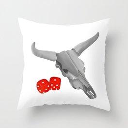 Cow Skull Snake Eyes Throw Pillow