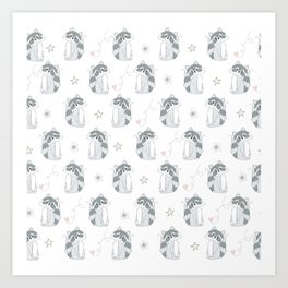 Hand Drawn Raccoons Art Print